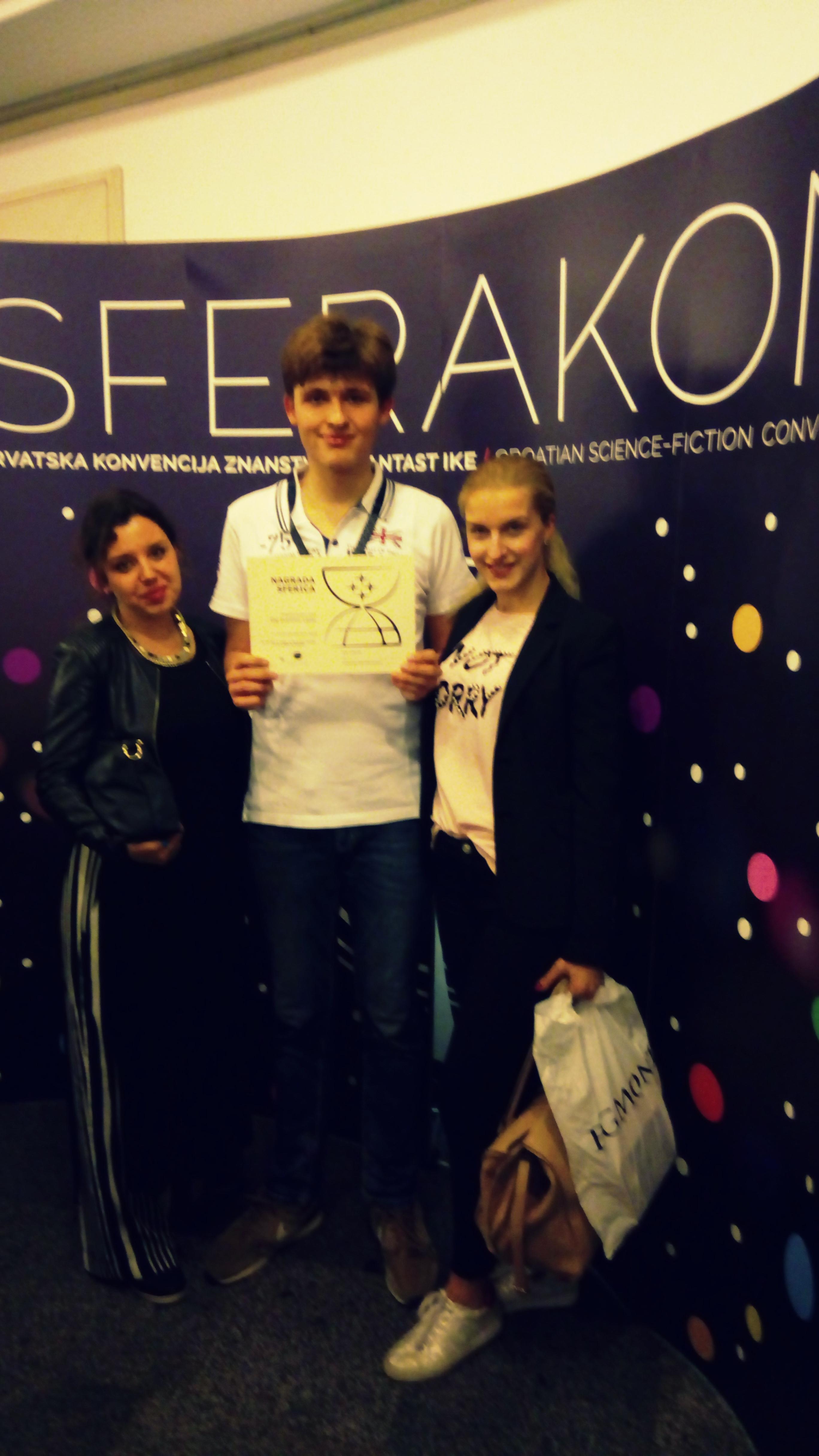 Naš učenik Gaj Zvonimir Lopac treći na SFerakonu, dobitnik nagrade SFerica